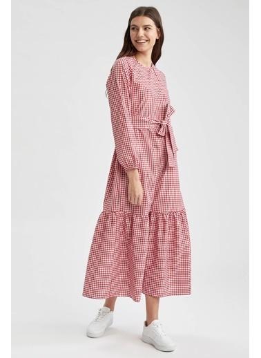 DeFacto Relax Fit Pötikare Desenli Uzun Poplin Elbise Kırmızı